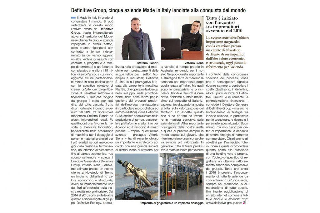 Articolo de il sole 24 ore definitive ecology for Ufficio design italia srl via emilia est modena mo